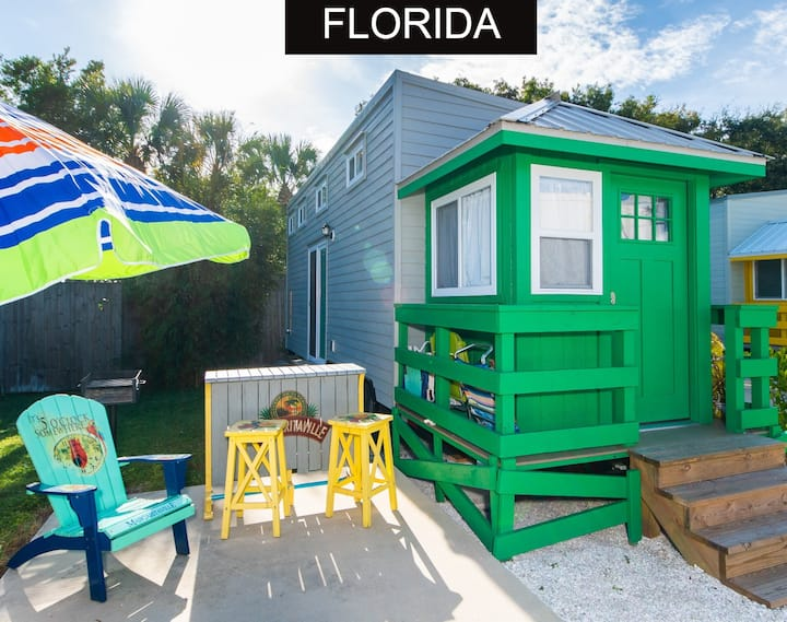 Tiny House Green Lifeguard Stand located 3/4 of a mile from the beach in our Tin