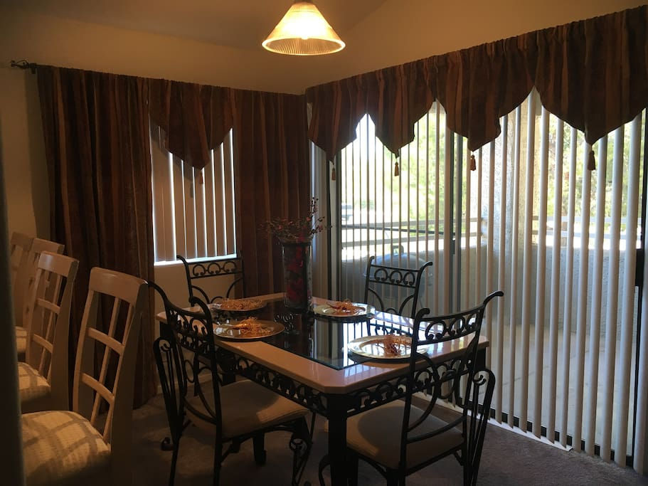 Dining Room with balcony.