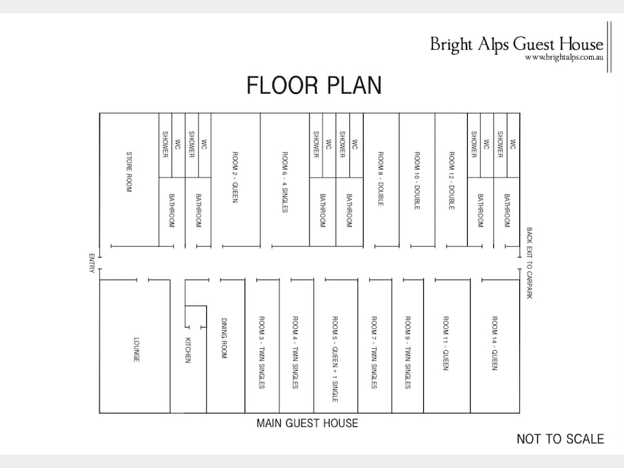 The floor plan of the Guest house.