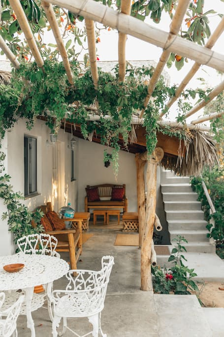 Outdoor pergola, breakfast with a farm view
