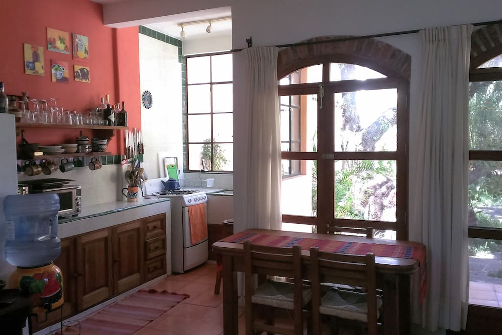Kitchen with garden view