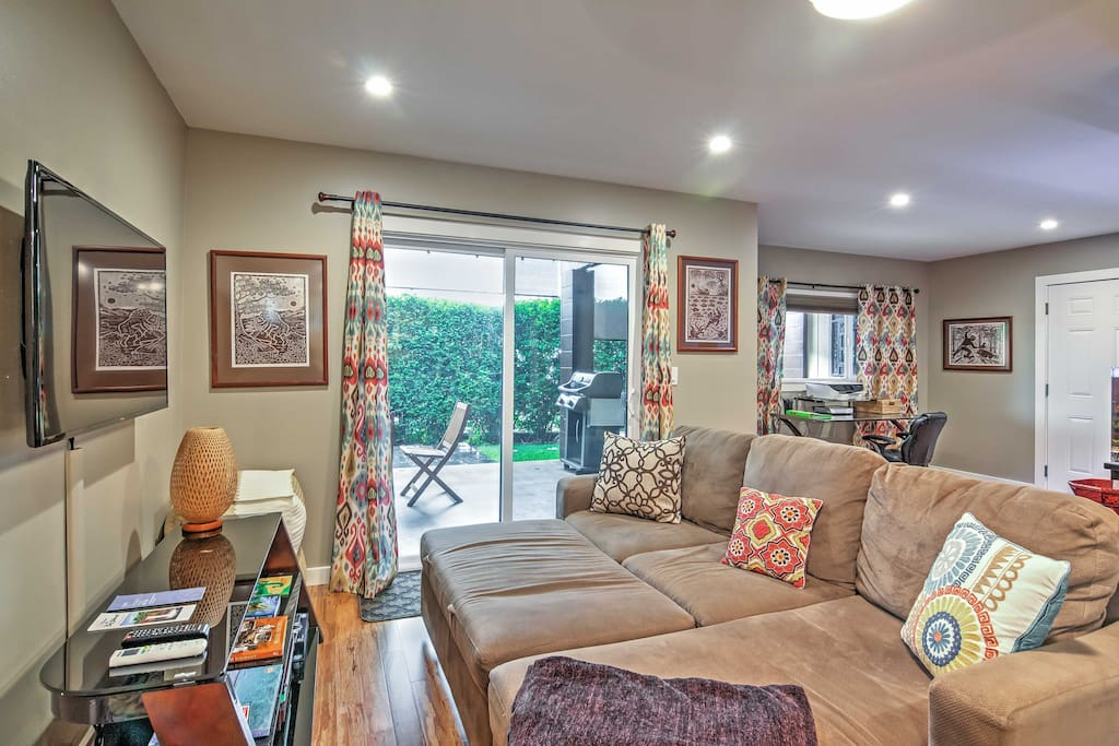 Kick back and unwind in the warm and cozy living area.