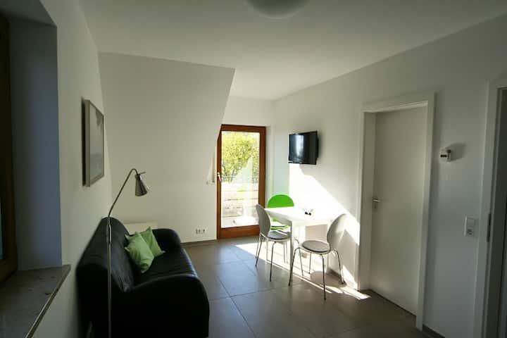 Gästehaus Café Perlmuschel, (Moos-Iznang), Ferienwohnung Sonnendeck, 35 qm, 1 Schlafzimmer, mit Balkon