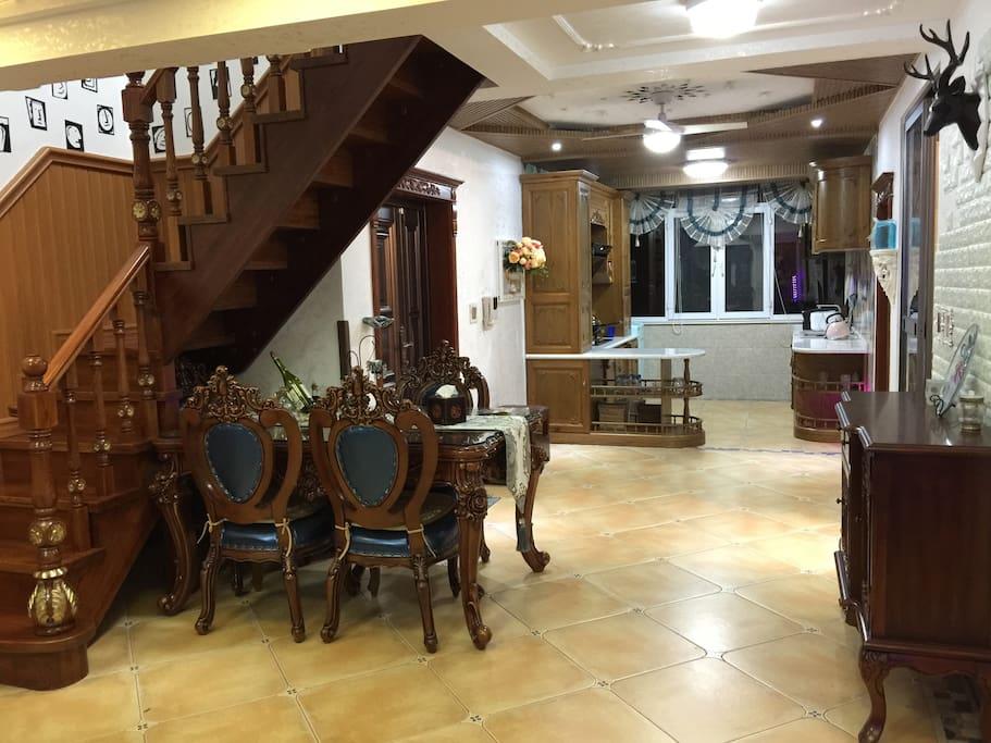 全實木傢俱,大歐式現代古典結合廚房