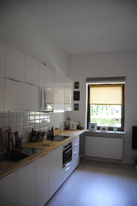Comfortable kitchen, equipped with induction cooktop, oven and microwave and basic cooking ware.