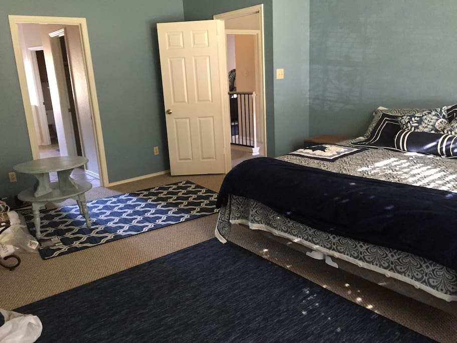 """Blue Eyes"" room, extra large Master bedroom Suite with an adjoining  private double Master bathroom. TV, mini frig., microwave, coffee maker."