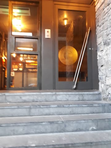 This is the entrance, the door on the right leads up to the Penthouse.  The door to the left is to The Butcher Restaurant which opened in 2018 , which offers great food and service .
