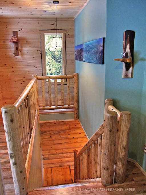stairs between floors with locally sourced wood