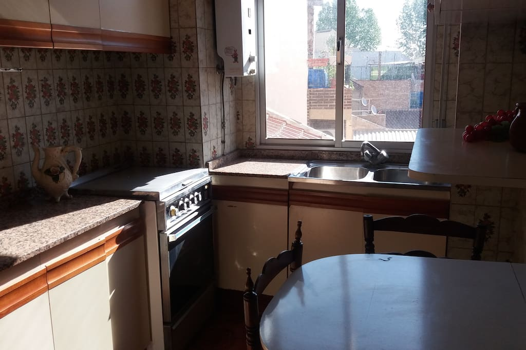 Charming old style kitchen with a gas stove (4 burners), oven, fridge, basic cutlery and silverware...