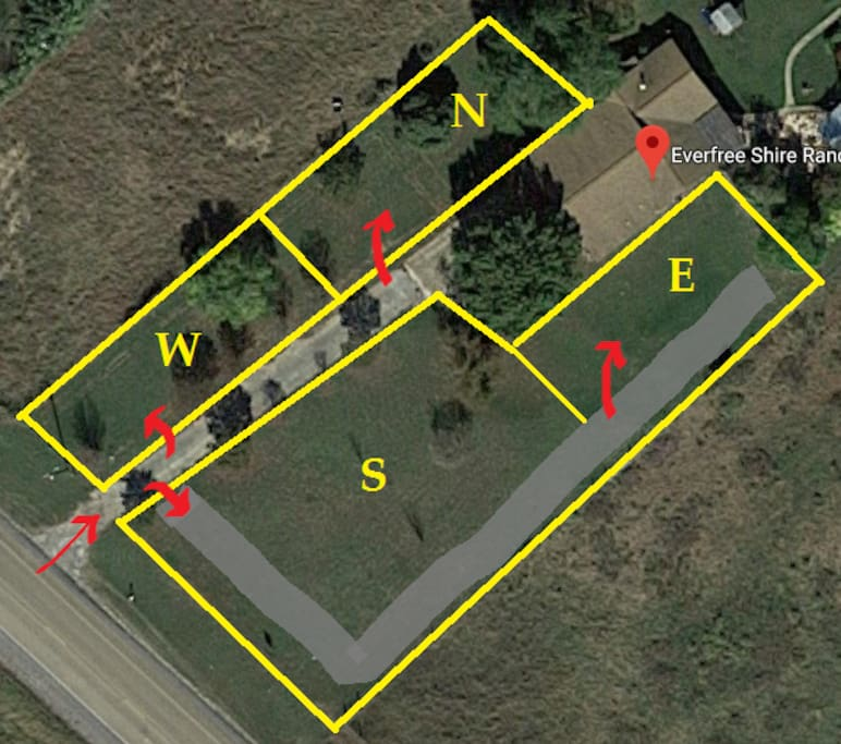 This site is designated by E.  To reach it, please enter the property and make an immediate right.  Make a sharp left just before the fence-line.  The red arrows indicated suggested entry points for each lot.