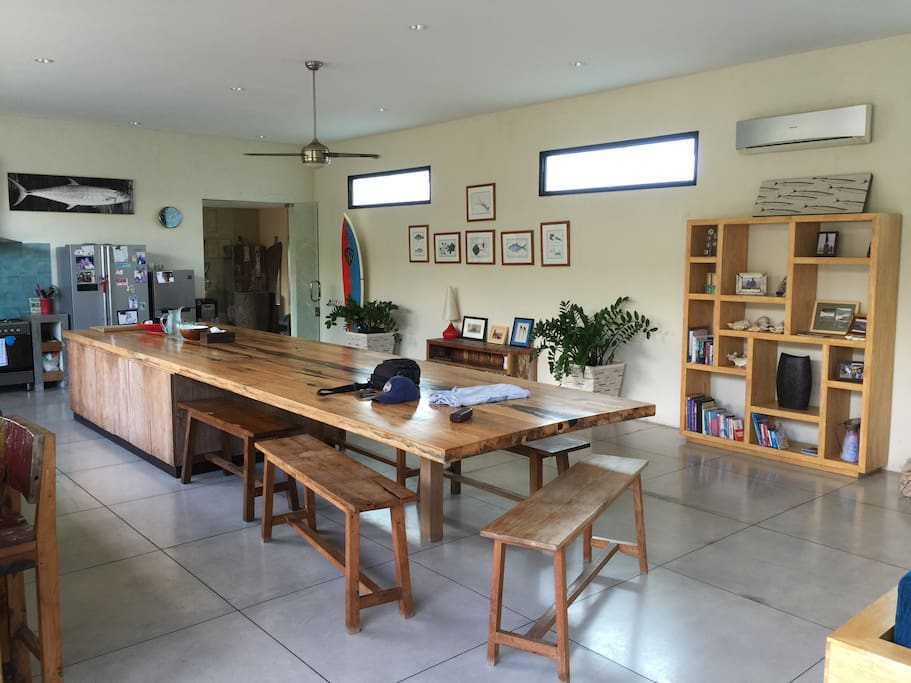 6m long solid timber kitchen dinning table custom made for the house
