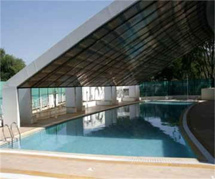 Luxurious stay - inclusive of a pool and gym.