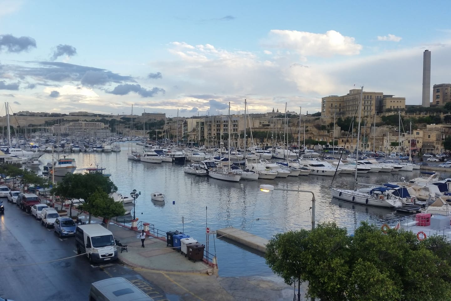 View north from the open front balcony overlooking Msida Marina.