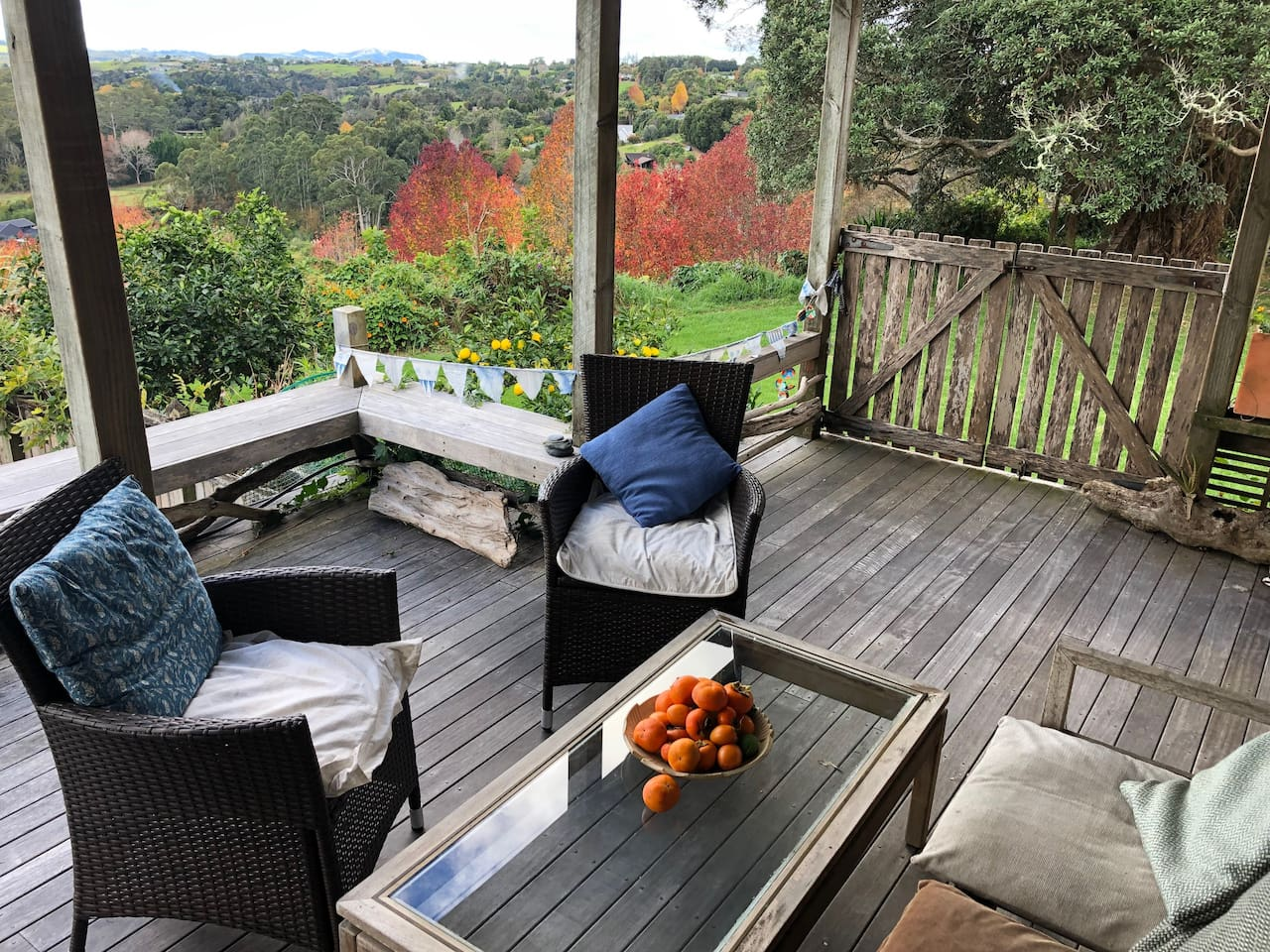 The autumn view of the valley from your private deck area. The persimmons are from the garden.