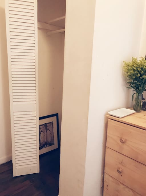 Plenty of closet space, and so I course will provide hangers. Immediate above head storage within closet, and further above head storage if needed (will likely need a step ladder for this unless you are approximately 7 feet tall).