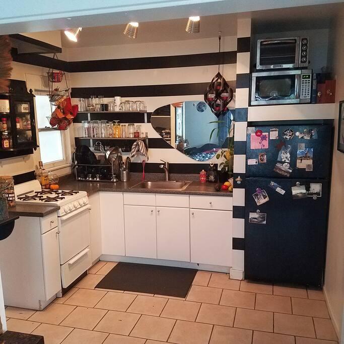 Kitchen with all kitchenware.