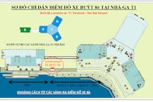 Noi Bai airport Terminal 1 Map with Bus 86 Pick-up point
