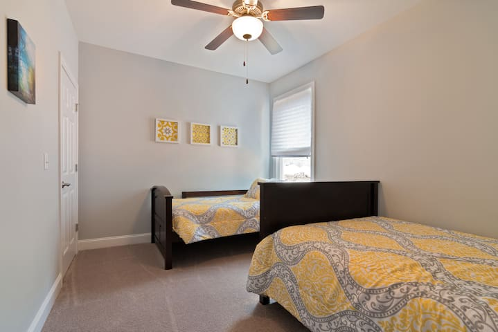 A third bedroom has twin and double beds.