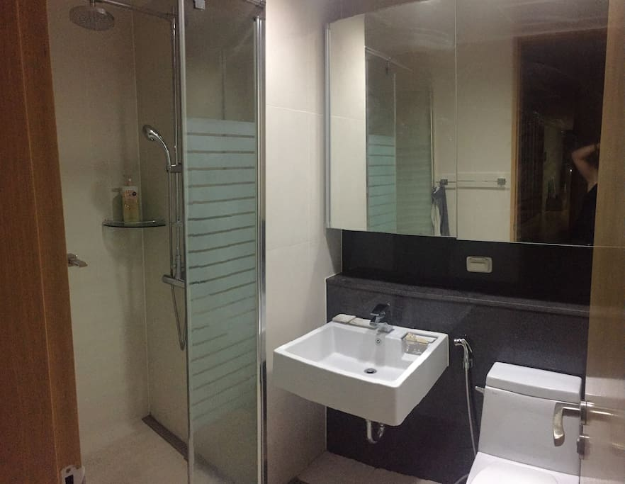 Guest bathroom with shower and toilet.