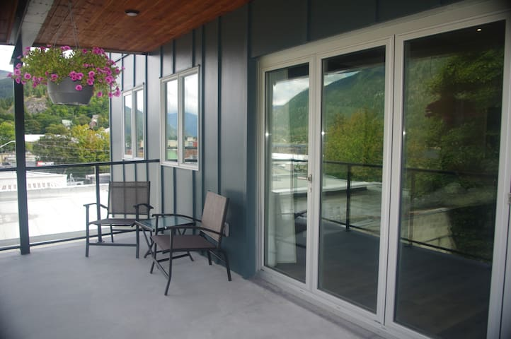 Covered deck with lake views