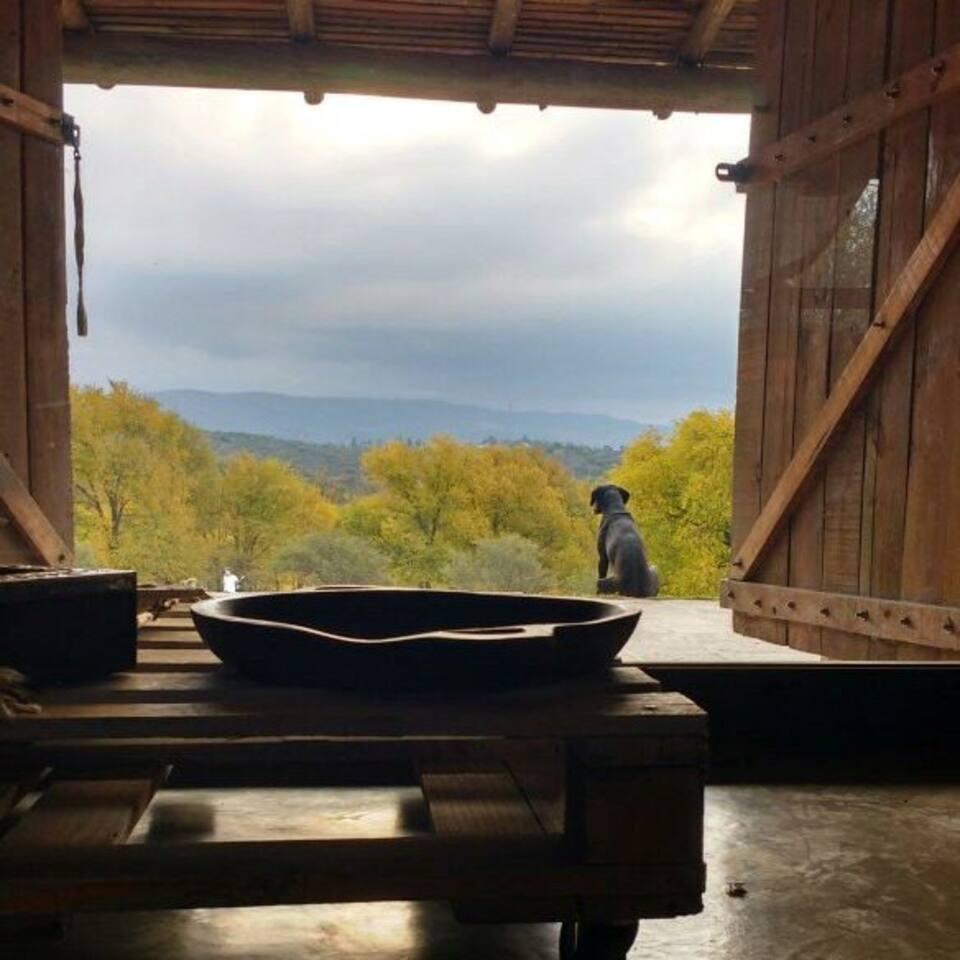La vista de las sierras desde el living en otoño.