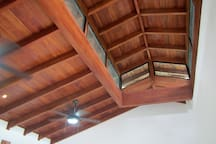 Ceiling fans, cupola and mountain breezes keep you comfortable.  Fine woodworking with beautiful Costa Rican cedar.