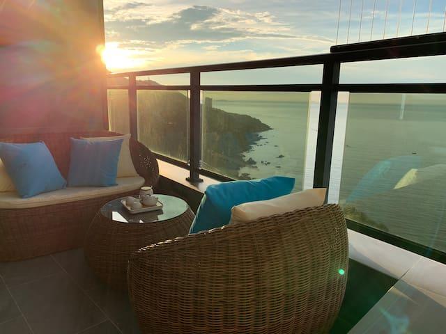 南澳岛·山海汇·270度观日出日落全海景房·山海雅居民宿丨双床房丨可住4人
