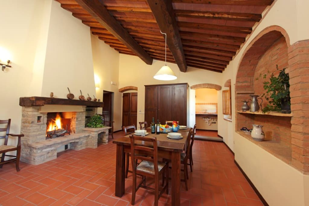 One of the living-dining room with fireplace