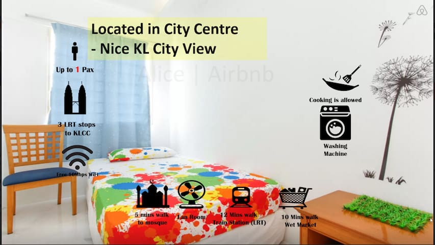 * KLCC View Fan Room | WIFI | Free City Bus | LRT*