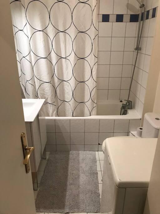 Salle de bain (baignoire, lavabo, wc, machine à laver séchante)