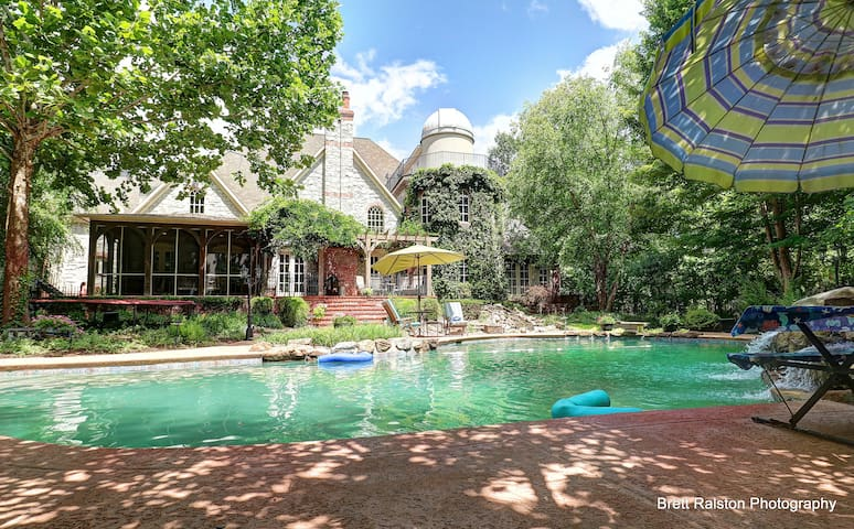 View from pool toward house and observatory.