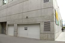 You will be given a fob garage door opener to open the garage. It's a bit tricky, but hold it down and make sure you are close to the door sensor.