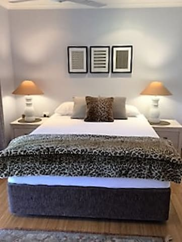 comfortable Queen bed with quality linen.