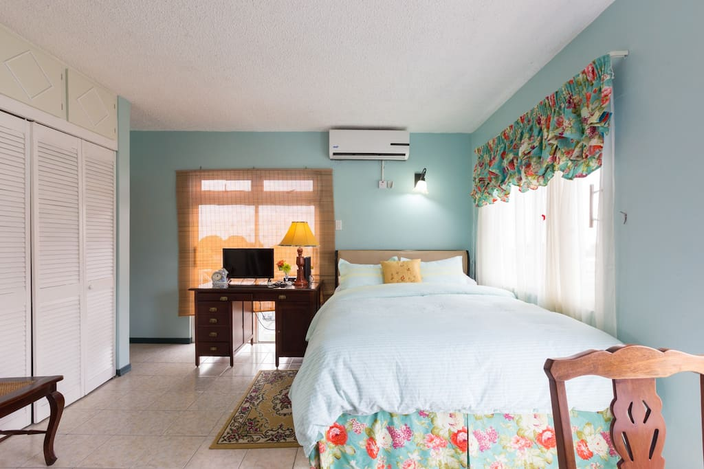 Choose Azure Suite for a calming, relaxing and restful stay in Kingston.  It's also, equipped for work with an office desk and for your entertainment with a flat screen cable TV and a radio.