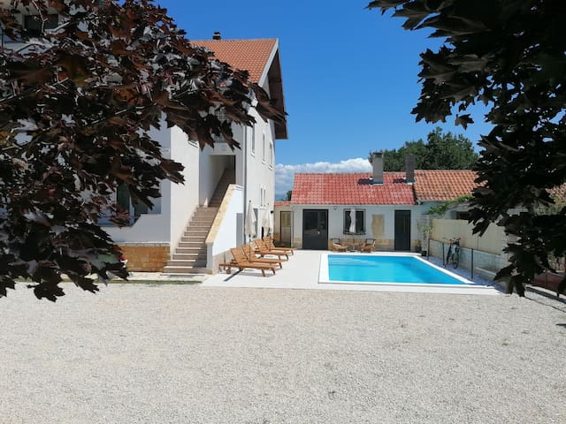 Apartment with private pool, balcony, garden, BBQ
