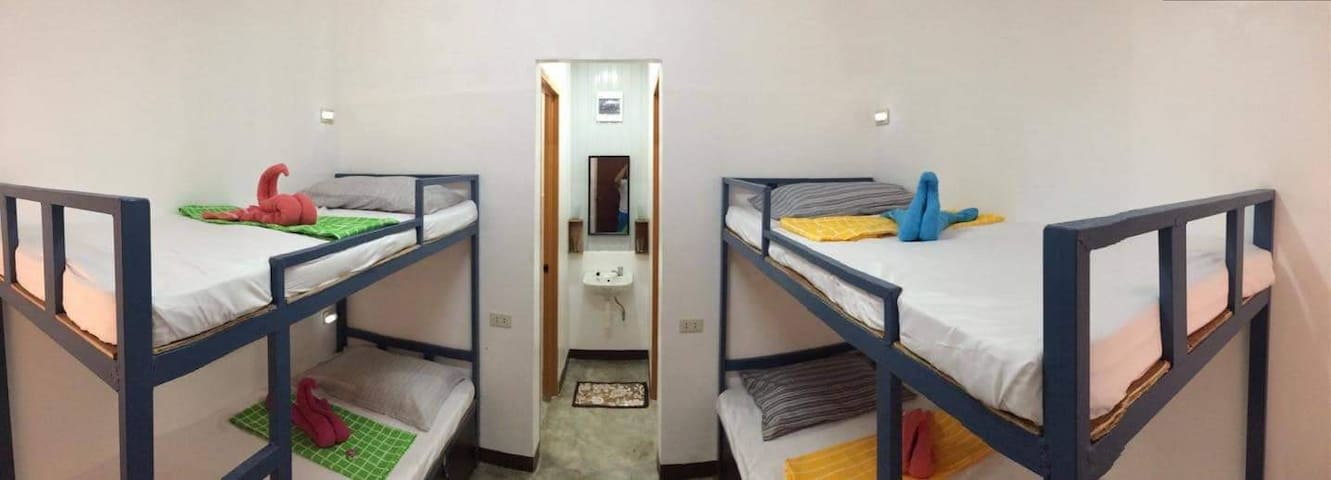 Shared Air-Conditioned room for 4 @ Php 450/person