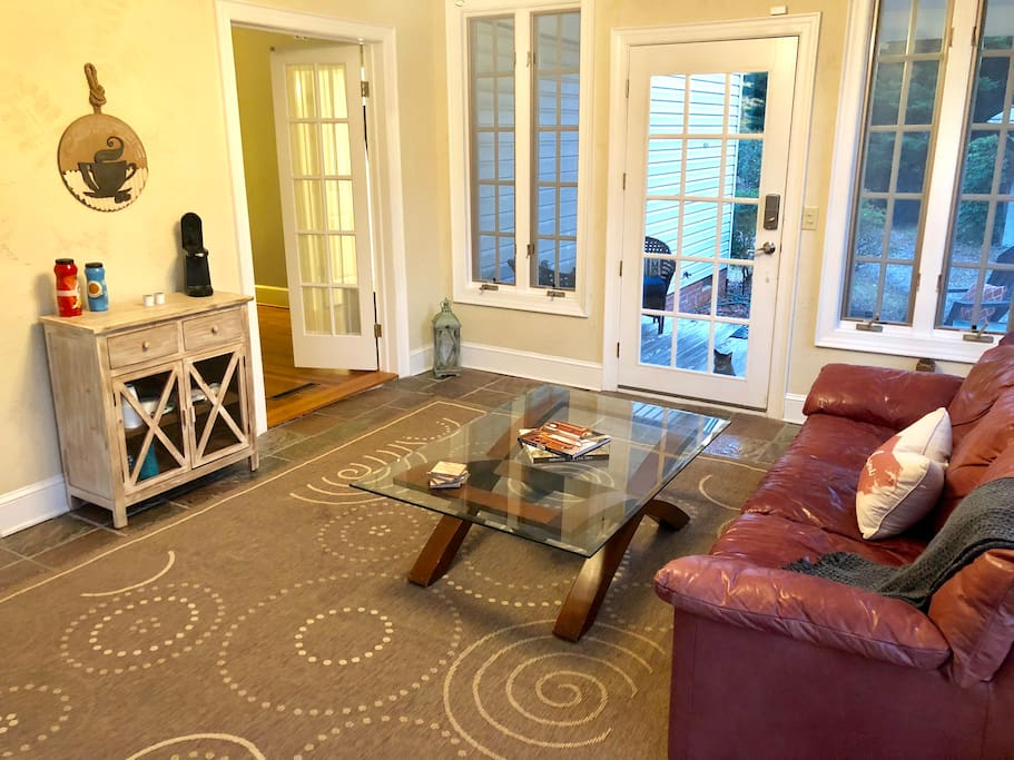 Your private attached Sunroom/Living room perfect for peace & quiet.