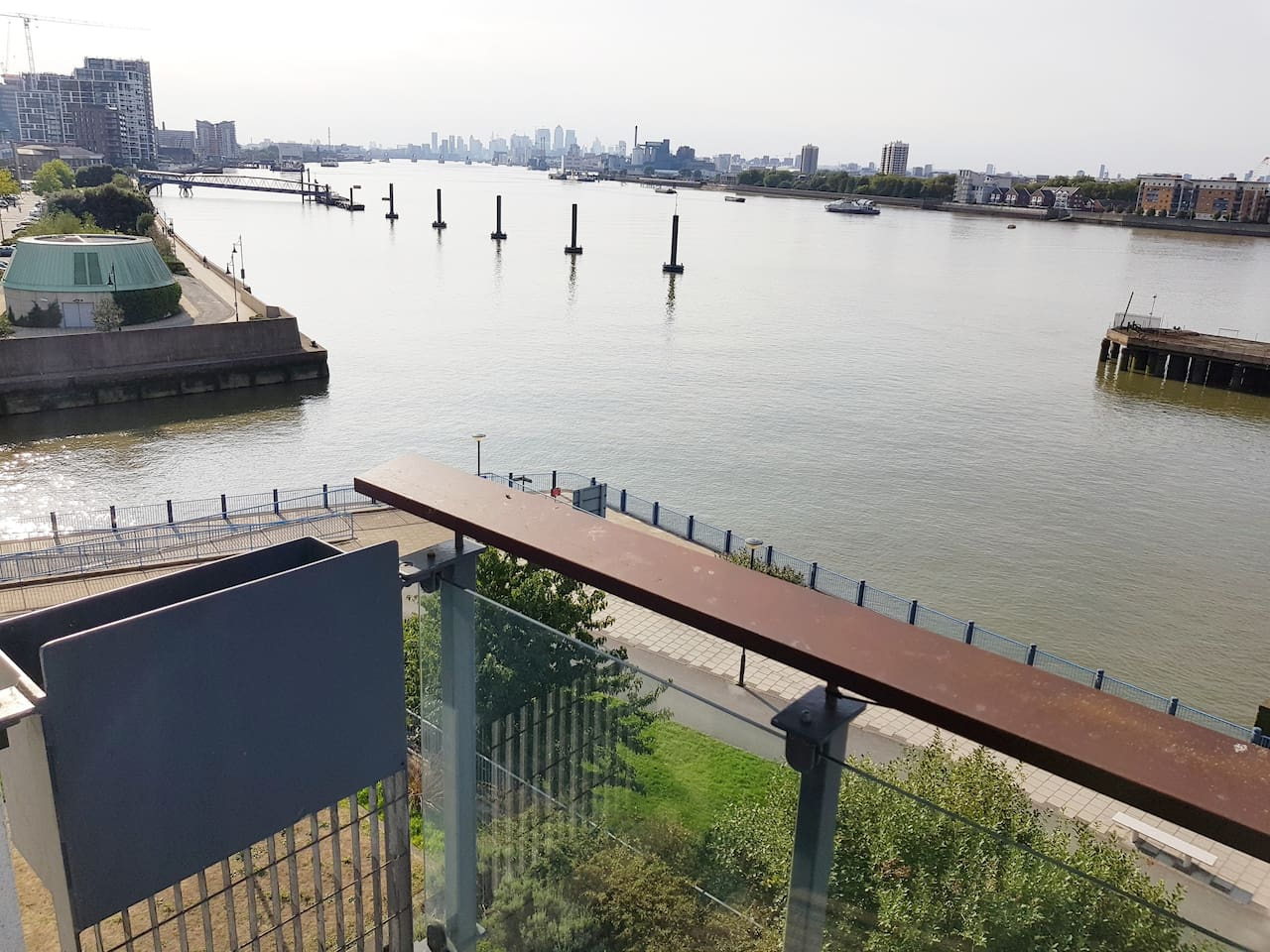 Balcony view of Thames and surrounding area
