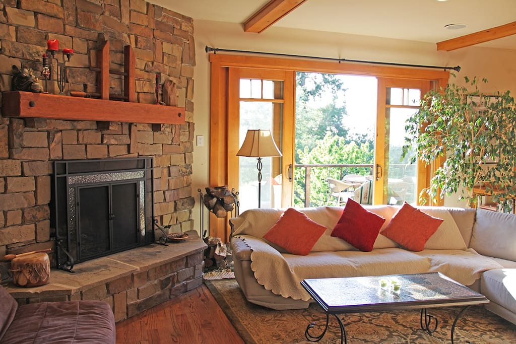Fireplace on main floor and lots of light and windows.