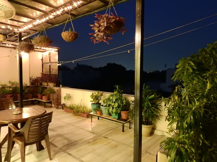 Out side sitting area at night.