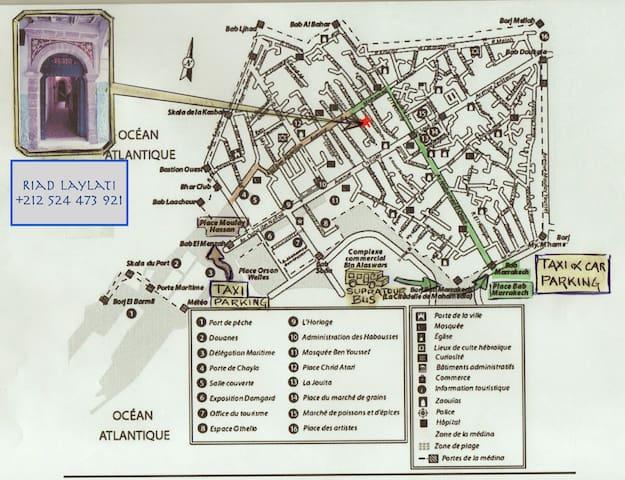 Plan de la medina avec implantation et tracé d'accès au Riad