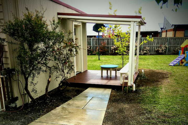 Bunkhouse with outdoor living area