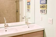 Two sinks make it easy to get ready in the morning!