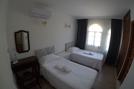 Brand new twin room with balcony and mountain view.