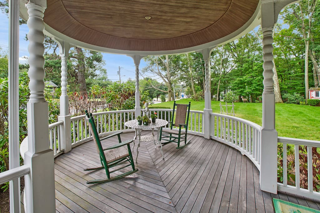When it's nice outside, feel free to enjoy a peaceful breeze out on our wrap-around porch, overlooking the garden.