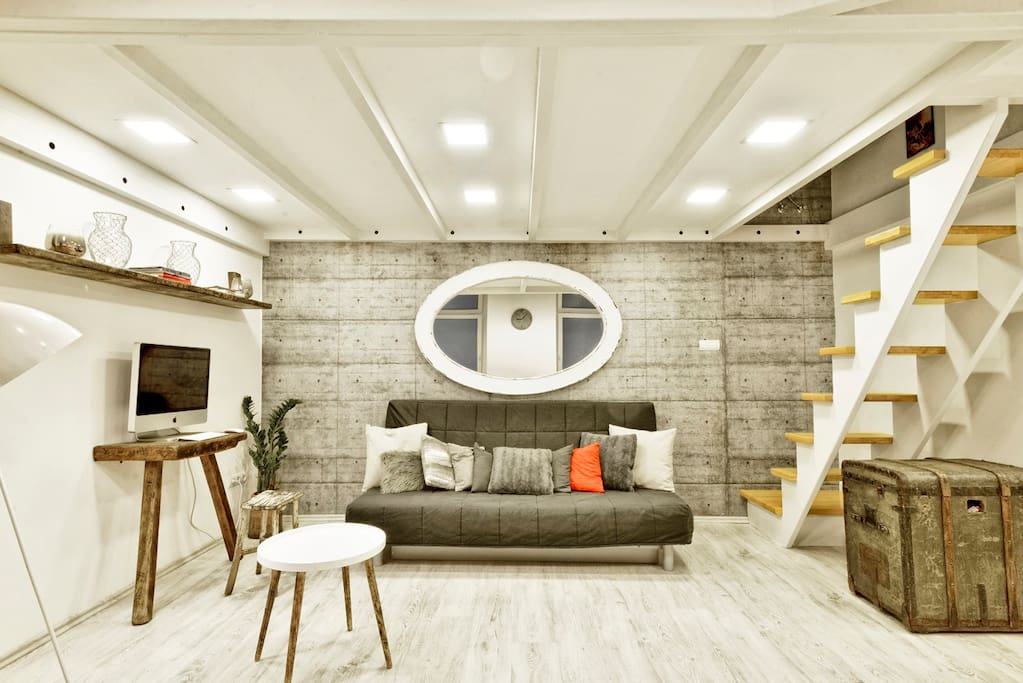 Kazinczy loft design - living area