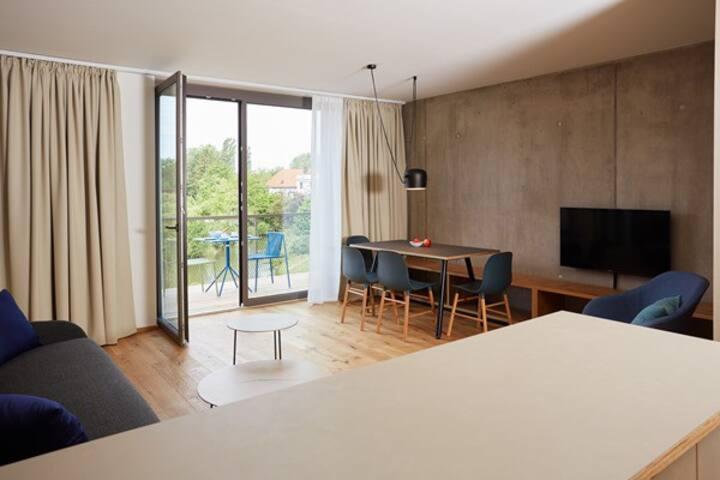 Sternen Bohlingen Aparthotel, (Singen), Familien-Apartment Storchennest, 66qm, 2 Schlafzimmer, 1 Wohn-/Schlafzimmer, Balkon, max. 6 Personen