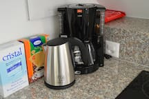 Coffee machine, water boiler, toaster and microwave are included in the kitchen equipment