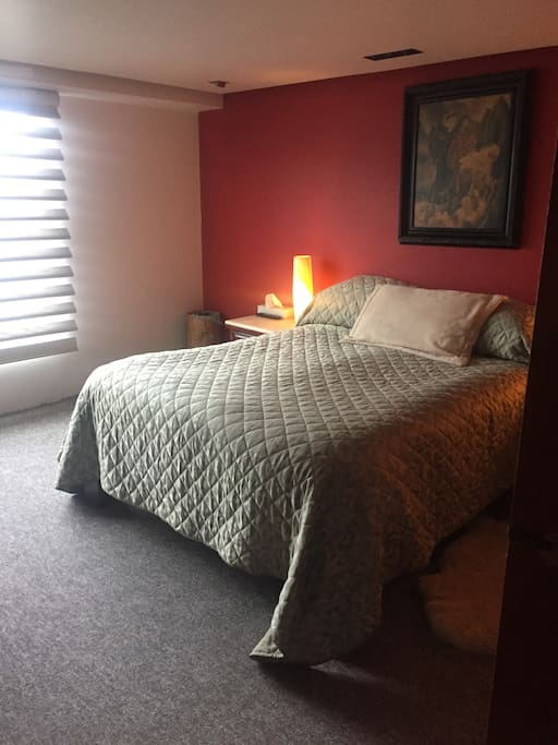 Recámara de muy buen tamaño con cama queen con confortable colchón ortopédico de memory Foam para un perfecto descanso.