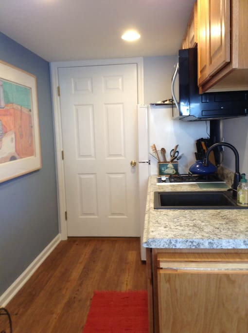 Entry and kitchenette with two gas burners and microwave/convection oven.
